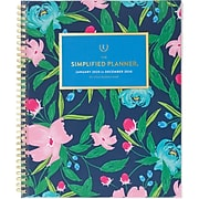 """2020 Simplified 8-1/2"""" x 11"""" Customizable Weekly/Monthly Planner, Navy Floral (EL300-901-20)"""