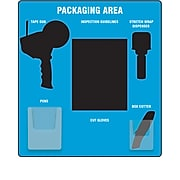 Accuform Small Packaging Station Store-Board™, Black Shadows on Blue Background, Aluma-Lite (PSB717BUBK)