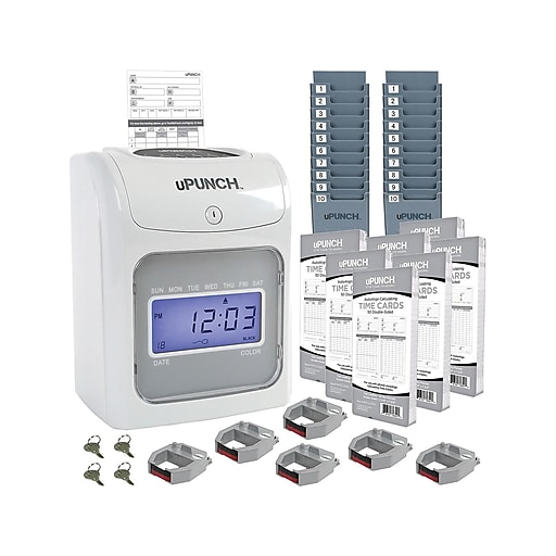 uPunch Electronic Calculating Bundle Punch Card Time Clock System,  Gray/Beige (UB2000)
