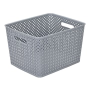 Simplify's  Large Resin Wicker Storage Bin in Grey