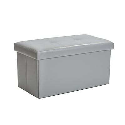 Simplify Faux Leather Double Folding Storage Ottoman (F-0630-Grey)