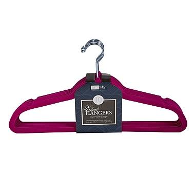Simplify 10 Super Slim Velvet Huggable Hangers in Fuchsia