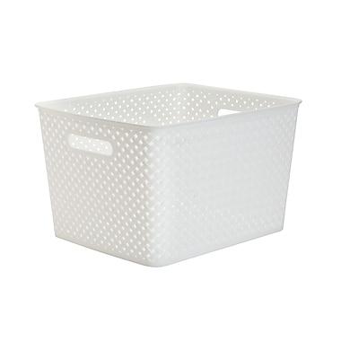 Simplify's Large Resin Wicker Storage Bin in White