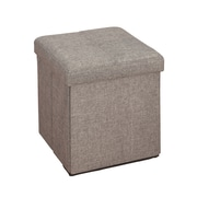 Simplify Faux Linen Folding Storage Ottoman Cube (F-0636-Grey)