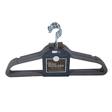 Simplify 10 Super Slim Velvet Huggable Hangers in Grey