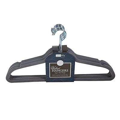 Simplify 10 Super Slim Velvet Huggable Hangers in Grey