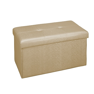 Simplify Faux Leather Double Folding Storage Ottoman (F-0647-MET-GOLD)