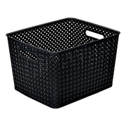 Simplify's  Large Resin Wicker Storage Bin in Black