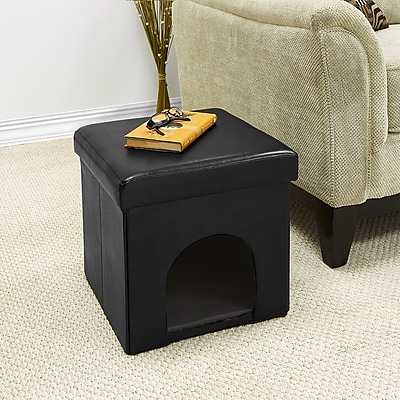 Simplify Single Foldable Pet Ottoman in Black, (F-0643-BLACK)