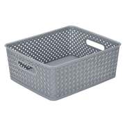 Simplify's  Medium Resin Wicker Storage Bin in Grey