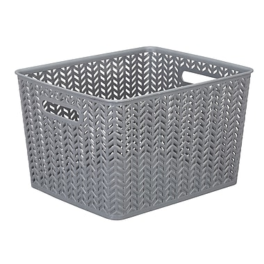 Simplify Large Herringbone Storage Bin in Grey