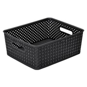 Simplify's  Medium Resin Wicker Storage Bin in Black