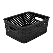 Simplify's Small Resin Wicker Storage Bin in Black