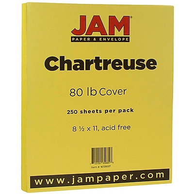 JAM Paper® Matte Cardstock, 8.5 x 11, 80lb Chartreuse, 80lb, 250/ream (16729227b)