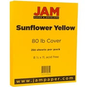 JAM Paper® Matte 80lb Colored Cardstock, 8.5 x 11 Coverstock, Sunflower Yellow, 250 Sheets/Ream (16729203B)