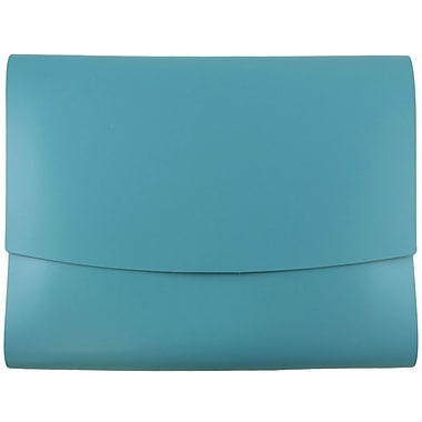 JAM Paper® Italian Leather Portfolio with Snap Closure, 10.5 x 13 x 0.75, Teal, 12/pack (233329922b)