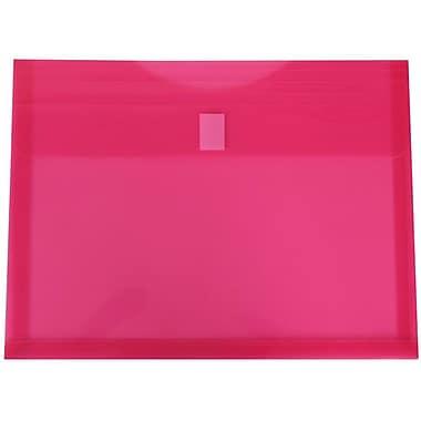 JAM Paper® Plastic Envelopes, 1 Expansion, Letter Booklet, 9.75 x 13, Fuchsia Pink Poly, 12/pack (218V1fu)