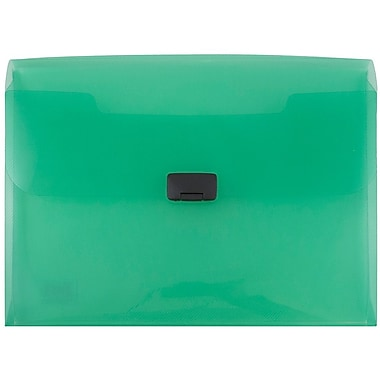 JAM Paper® Plastic Portfolio with Buckle Closure, 9.5 x 13.25 x 1, Green, Sold Individually (550green)