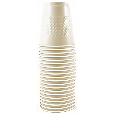 JAM Paper® Plastic Cups, 12 oz, Ivory, 200/box (2255520709b)