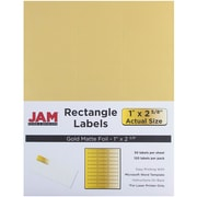 JAM Paper® Mailing Address Labels, 1 x 2 5/8, Gold Metallic, 120/pack (40732537Z)