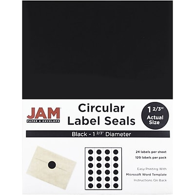 JAM Paper Round Circle Label Sticker Seals, 1 2/3 inch diameter, Black, 120/pack (302229594) 2633537