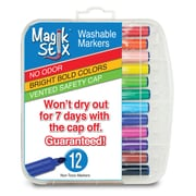 The Pencil Grip, Magic Stix Washable Markers That Won't Dry Out, 12 Per Pack, 3 Packs (TPG392BN)