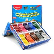 Maped Color'Peps Washable Markers, Fine Tip, Classpack of 200 (MAP845470)