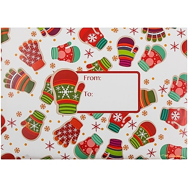 JAM Paper® Bubble Mailers, Large, 10.5 x 16, Holiday Mittens, 6/pack (526SSDE524L)