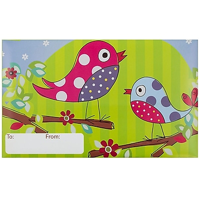 JAM Paper® Bubble Mailers, Large, 10.5 x 16, Songbirds Design, 6/pack (526SSDE263L)