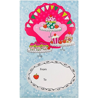 JAM Paper® Bubble Mailers, Large, 10.5 x 16, Strawberry Cupcake Design, 6/pack (526SSDE293L)