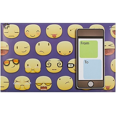 JAM Paper® Bubble Mailers, Medium, 8.5 x 12.25, Emoticons Design, 6/pack (526SSDE347M)