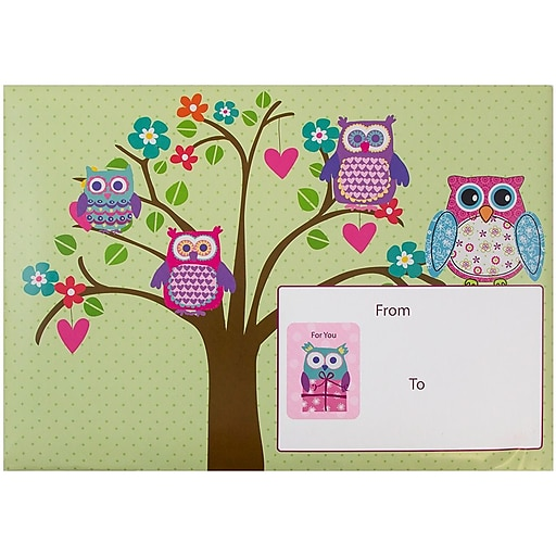 JAM Paper® Decorative Bubble Padded Mailers, Medium, 8.5 x 12.25, Flower Owls Design, 6/Pack (526SSDE217M)