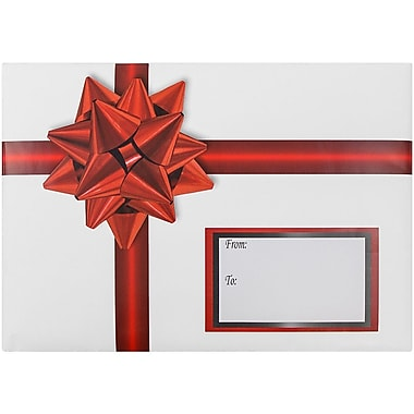 JAM Paper® Bubble Mailers, Medium, 8.5 x 12.25, Red Ribbon Design, 6/pack (526SS23MDM)