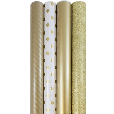 JAM Paper® Premium Wrapping Paper, Assorted, Everything Gold, 4 rolls/set (368532532)