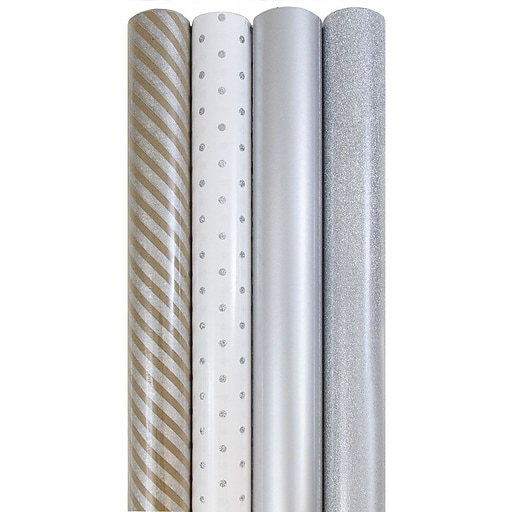 JAM Paper® Gift Wrap, Assorted Wrapping Paper, 64 Sq. Ft Total, Everything Silver, 4/Pack (368532534)