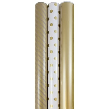 JAM Paper® Premium Wrapping Paper, Assorted, Gold Collection, 3 rolls/set (368532533)