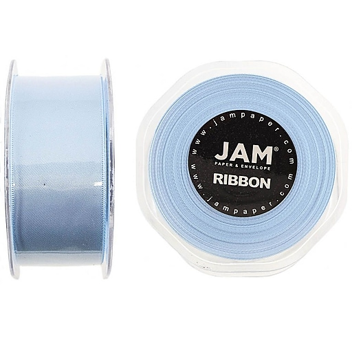 JAM Paper® Double Faced Satin Ribbon, 1 1/2 inch Wide x 25 Yards, Baby Blue, Sold Individually (808SAltbu25)