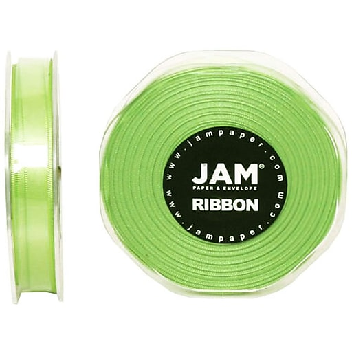 JAM Paper® Double Faced Satin Ribbon, 3/8 inch Wide x 25 yards, Lime Green, Sold Individually (803SAappgr25)