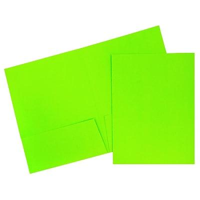 JAM Paper® Two Pocket Presentation Folders, Bright Neon Green, 120/carton (386Ngrdb)