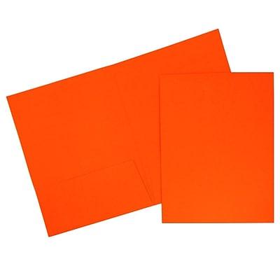 JAM Paper® Two Pocket Presentation Folders, Bright Neon Orange, 120/carton (386Norb)