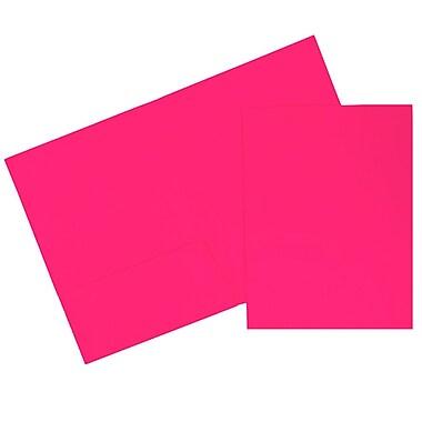 JAM Paper® Two Pocket Presentation Folders, Bright Neon Pink, 120/carton (386Npib)