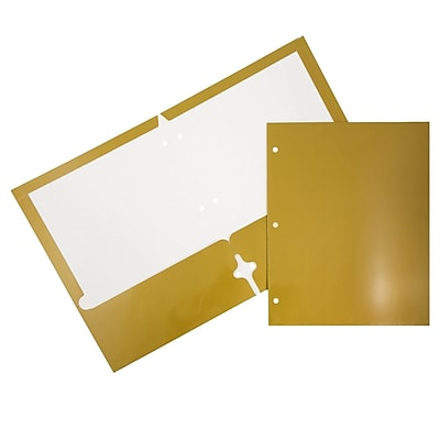 JAM Paper® 2 Pocket Laminated Glossy 3 Hole Punched School Folders, Gold, 100/carton (385GHPgob)