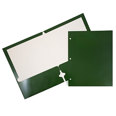 JAM Paper® 2 Pocket Laminated Glossy 3 Hole Punched School Folders, Green, 100/carton (385GHPgrb)
