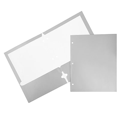 JAM Paper® 2 Pocket Laminated Glossy 3 Hole Punched School Folders, Silver, 100/carton (385GHPsib)