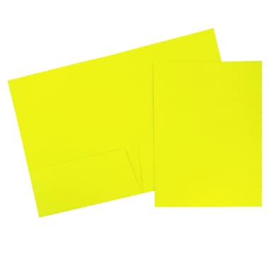 JAM Paper® Two Pocket Presentation Folders, Bright Neon Yellow, 120/carton (386Nyeb)