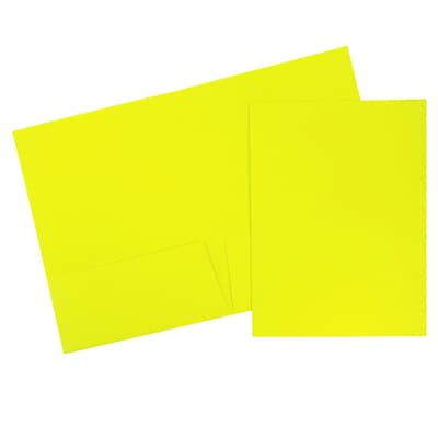 JAM Paper® Bright Two Pocket Presentation Folders, Neon Yellow 6/pack (386Nyed)