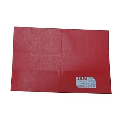 JAM Paper® Metallic Paper Cardstock Two Pocket Presentation Folders, Red Sparkle, 100/pack (6425727)