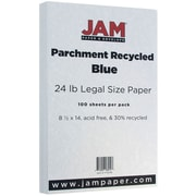 JAM Paper® Parchment Legal Paper, 8.5 x 14, 24lb Blue, 100/pack (17132138)