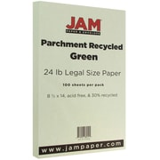JAM Paper® Parchment Legal Paper, 8.5 x 14, 24lb Green, 100/pack (17132142)
