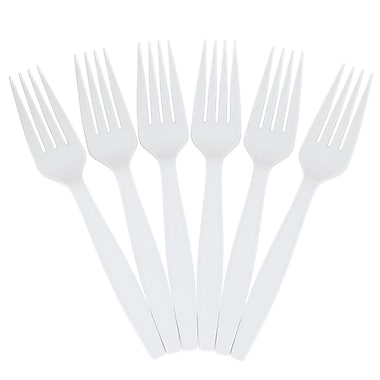 JAM Paper® Heavy Weight Plastic Forks, White, 100/pack (297F100wh)